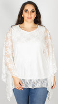 Maisie Ivory Batwing Lace Box Top