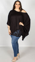 Daisy 2 in 1 Batwing Lounge Top Black