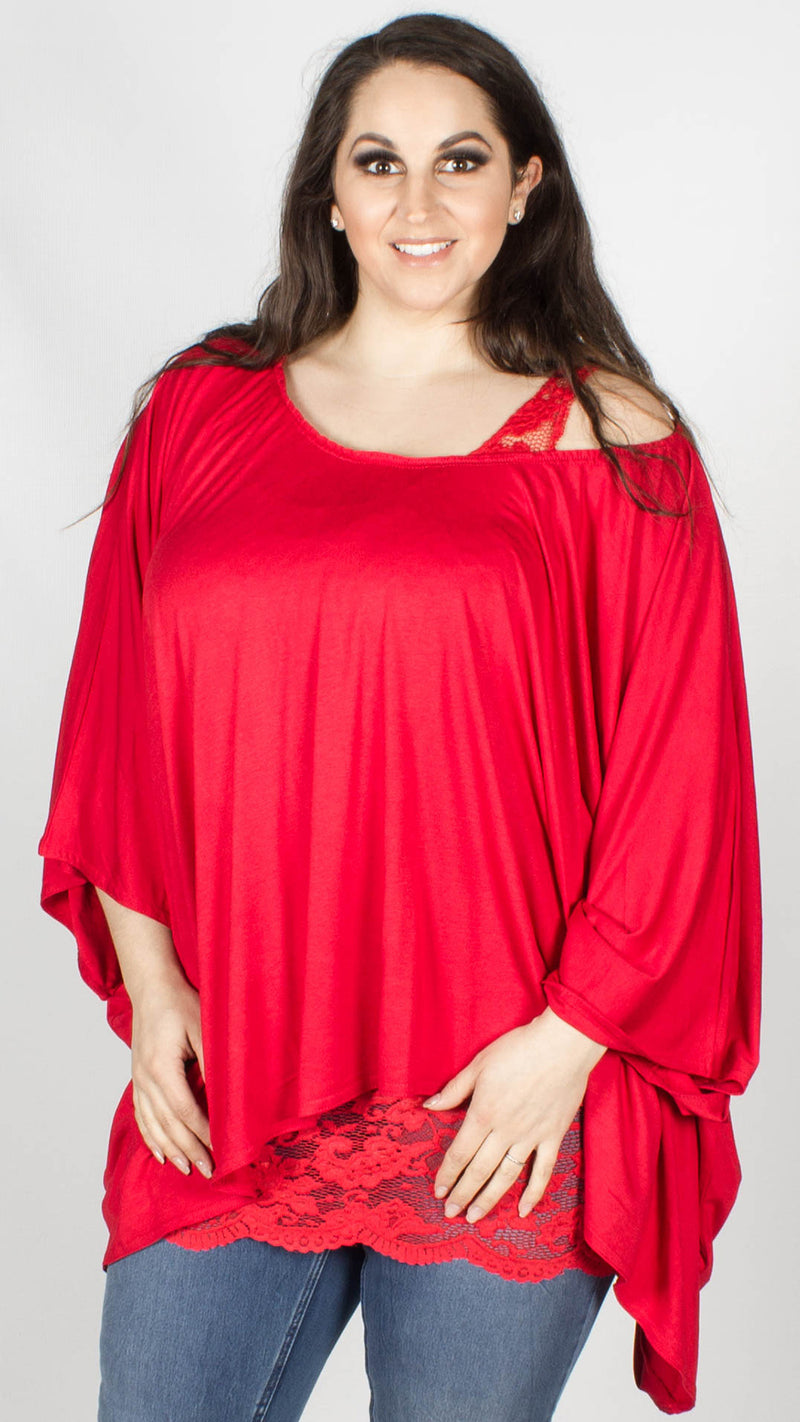 Daisy 2 in 1 Batwing Lounge Top Red