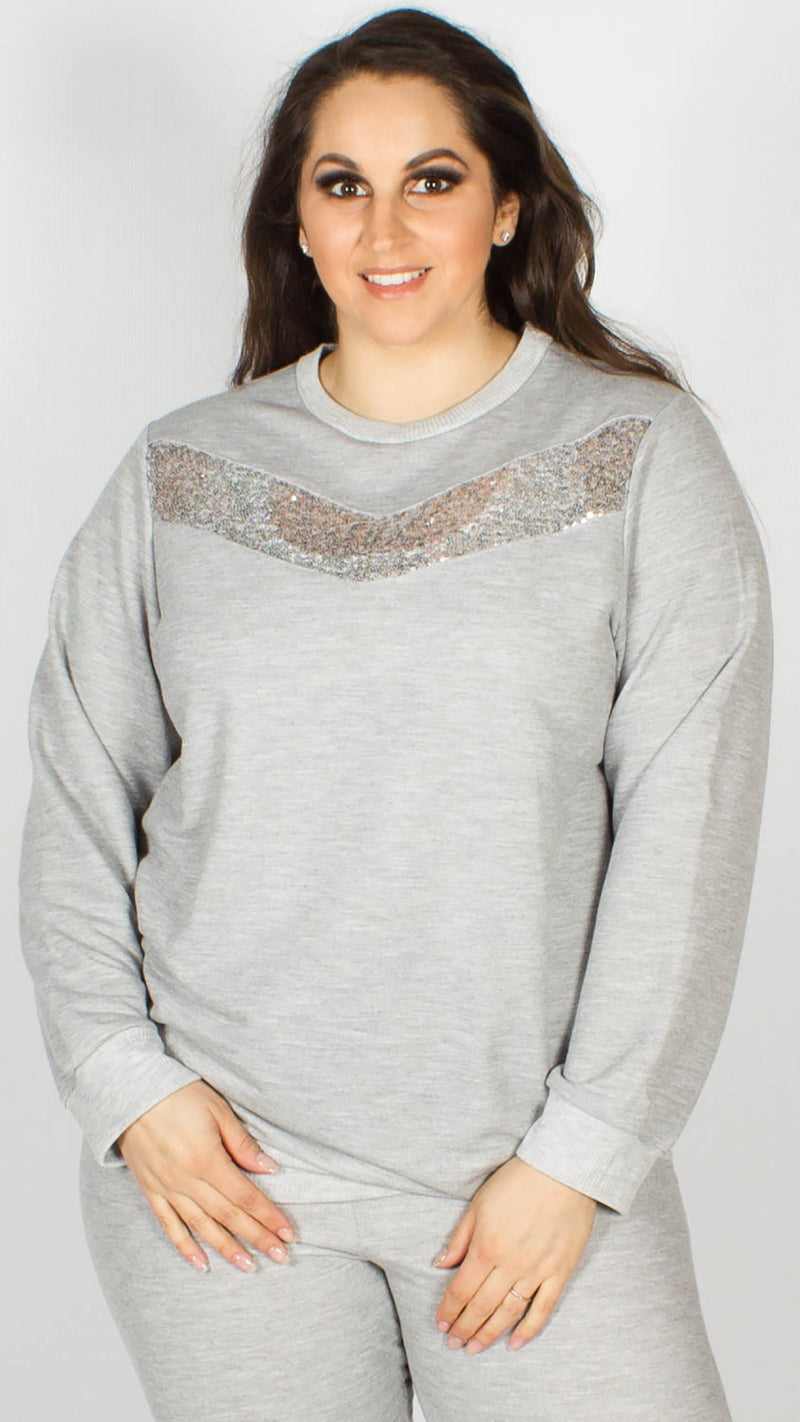 Poppy Sequin Detail Lounge Top Silver