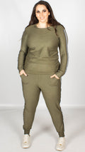 Sophie Khaki Side Striped Lounge Suit