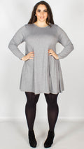 Curve Plain Swing Dress Grey
