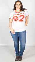 Ariel White Eighty Two California Varsity Print Contract T-Shirt