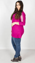 Katy Magenta Embellished Shoulder Jersey Tunic