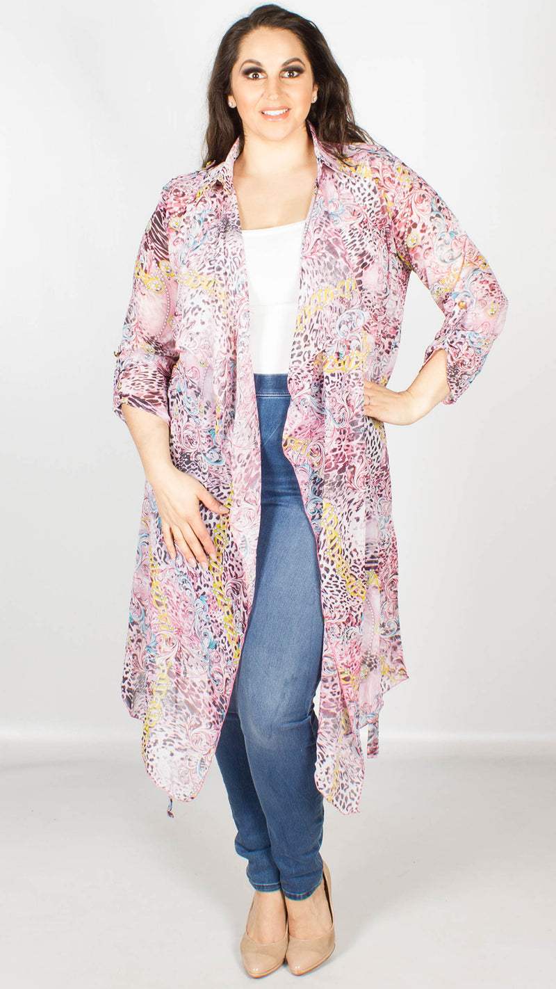 Emilia Pink Black Chain Print Duster Cape