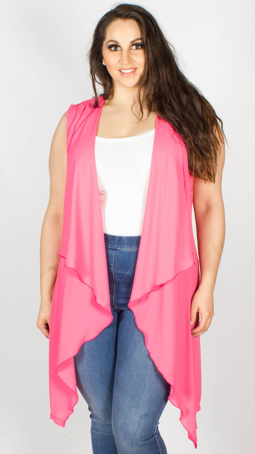 Rose Bright Pink Sleeveless Silky Crepe Cape