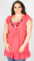 Nancy Coral Ruffle & Necklace Tunic