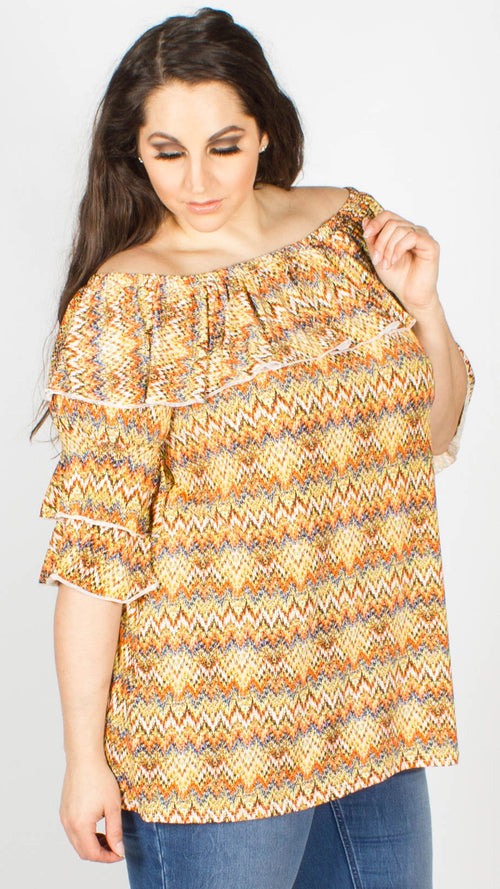 Ruby Zig Zag Bardot Tunic Orange