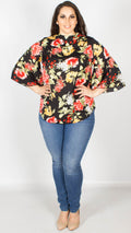 Alyssa Floral Print Cut Out Back Blouse