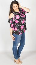 Sabrina Frill Neck Pink Rose Print Top