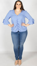 Everly Blue Ruched Front Tie Sleeve Blouse