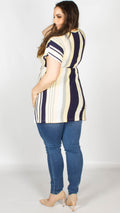 Hallie V-neck Multi Striped Tunic Top