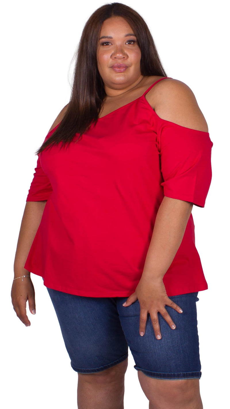 CurveWow Cold Shoulder Top Red