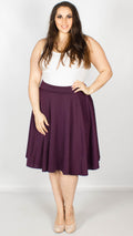 Amanda Plain Flared Skater Skirt Purple