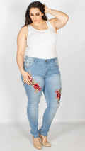 Iris Floral Patch Stud Ripped Jeans