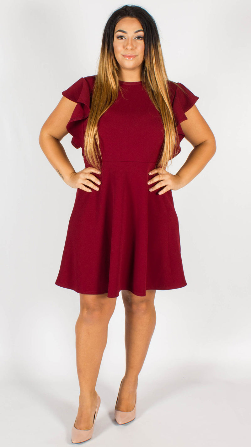 Fortaleza Wine Short Sleeve Frill Dress