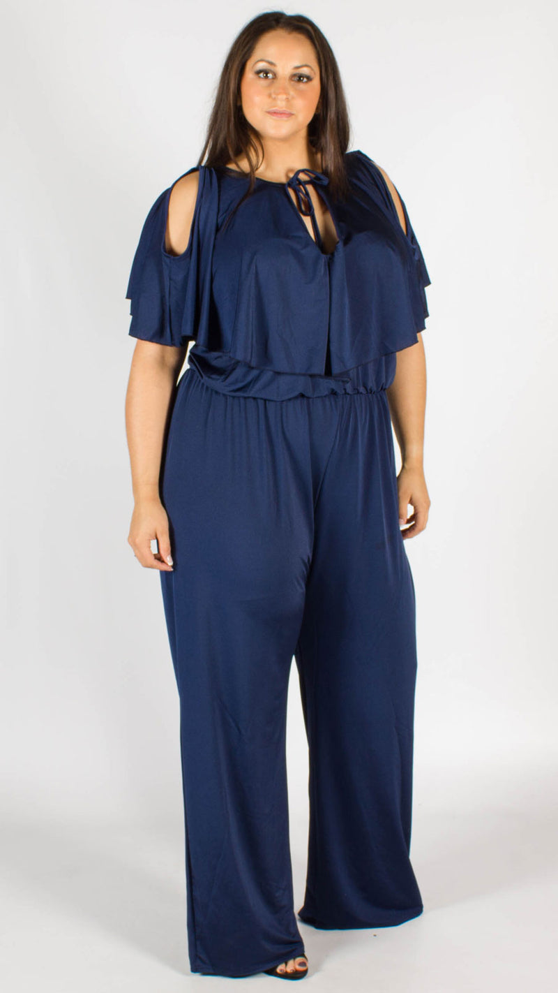Lydia Navy Open Shoulder Frill Jumpsuit