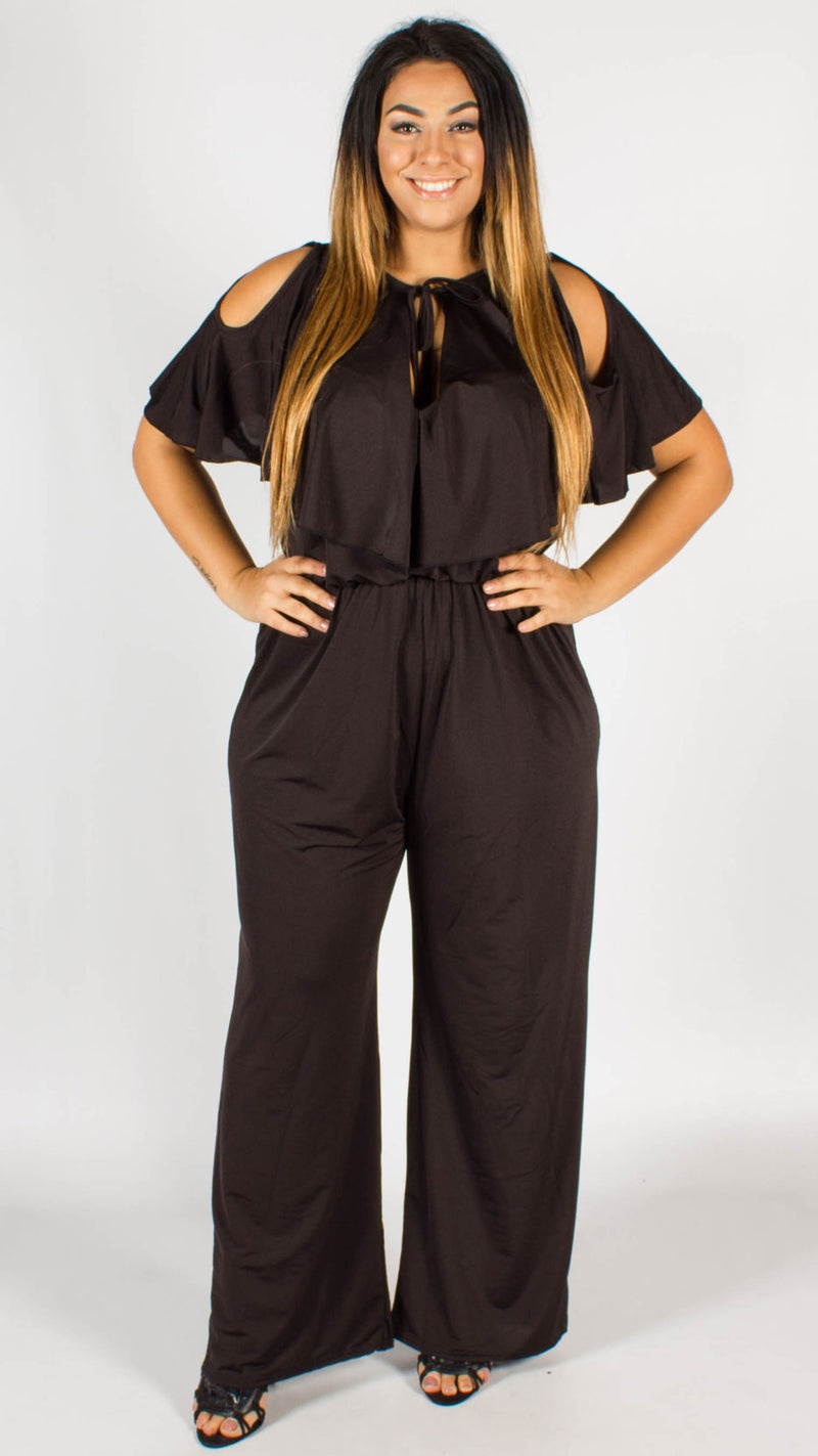 Lydia Black Open Shoulder Frill Jumpsuit