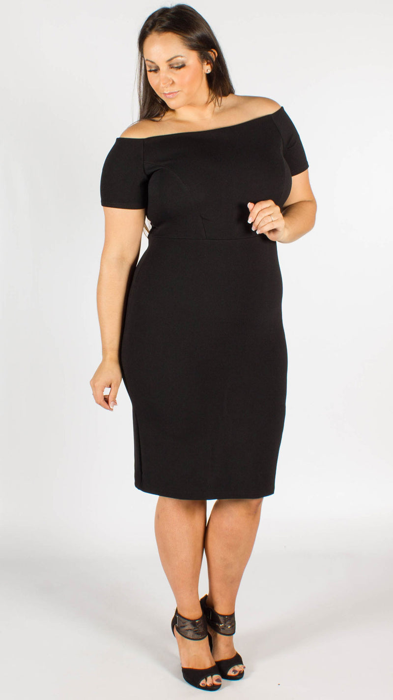 Bremen Stretch Jersey Zip Back Bardot Midi Dress