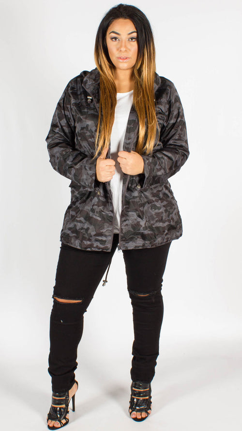 Torquay Camouflage Print Hooded Mac Jacket