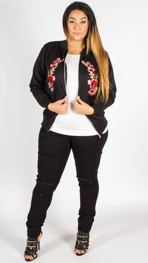 Chicago Embroidered Twin Floral Patch Bomber Jacket