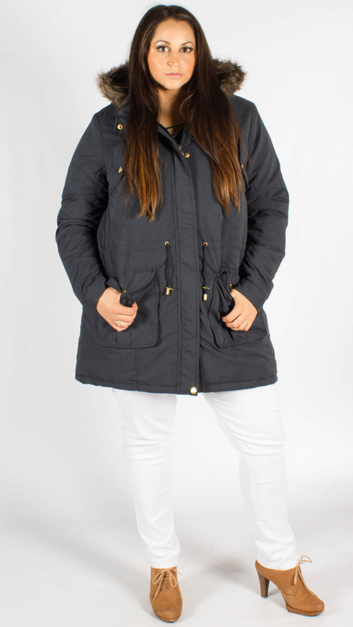 Wellington Parka Padded Fur Lined Hooded Jacket Navy