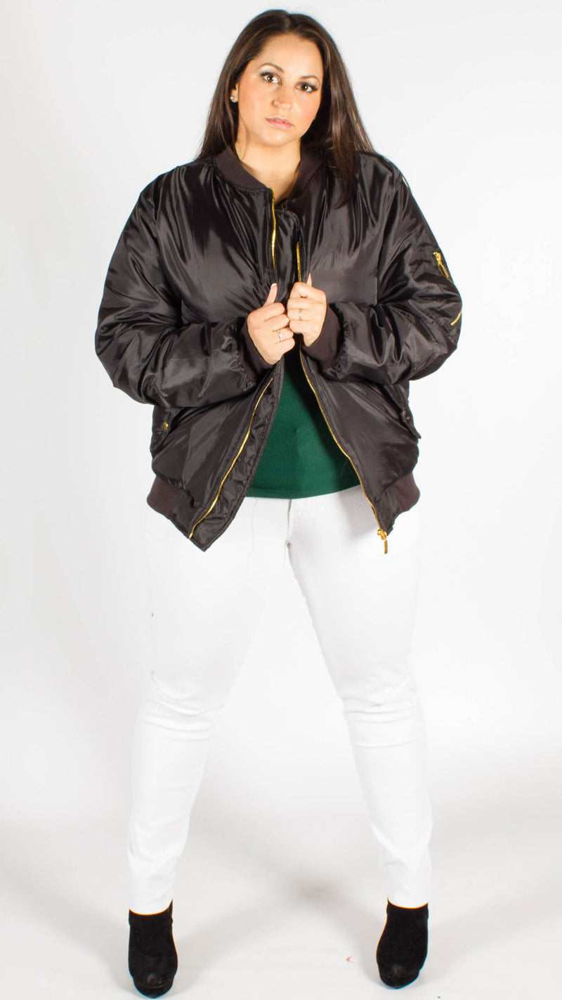 Tulsa Black Padded Bomber Jacket