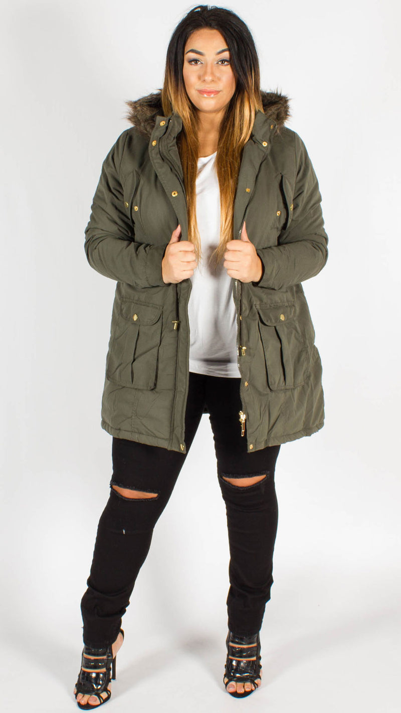 Wellington Parka Padded Fur Lined Hooded Jacket Khaki