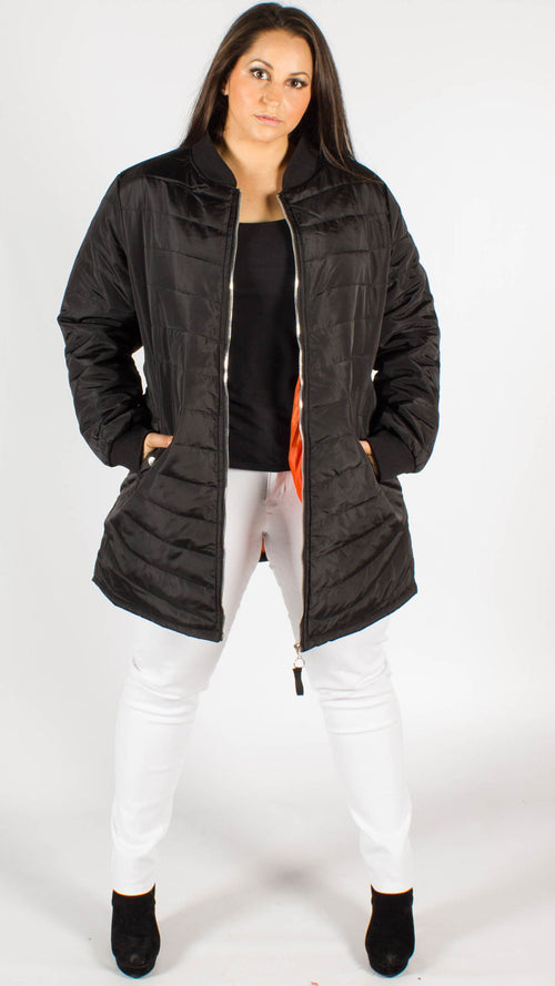 Bronby Black Quilted Longline Bomber Jacket