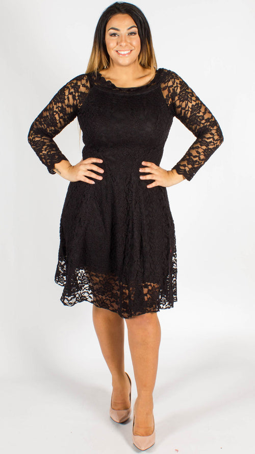 Vegas Bardot Lace Dress