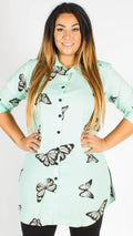 Teplice Chiffon Green Butterfly Side Slit Shirt