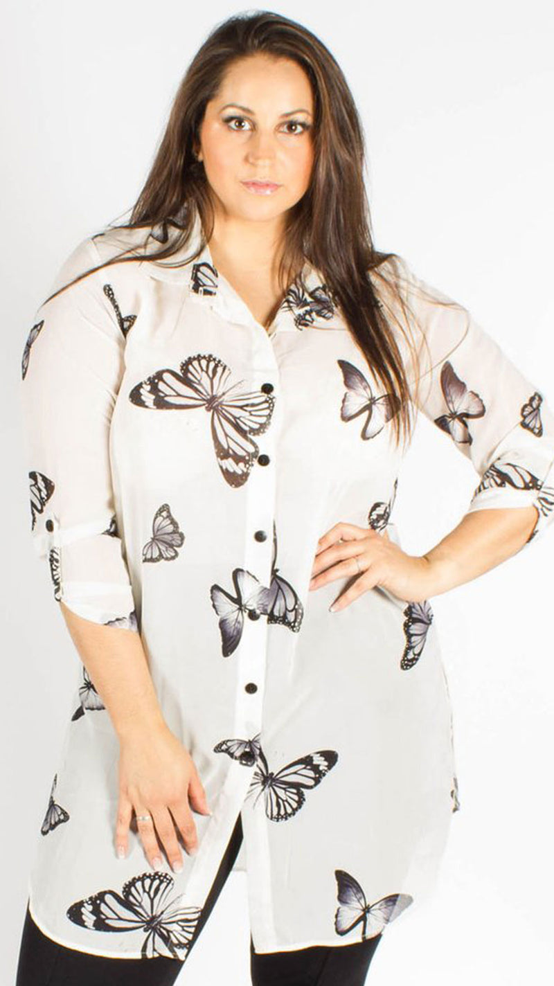 Teplice Chiffon Cream Butterfly Side Slit Shirt