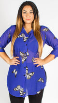 Teplice Chiffon Blue Butterfly Side Slit Shirt