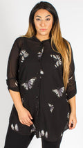 Teplice Chiffon Black Butterfly Side Slit Shirt