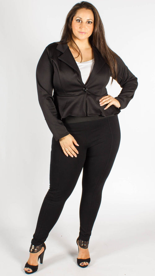 Havana Black One Button Frill Peplum Blazer