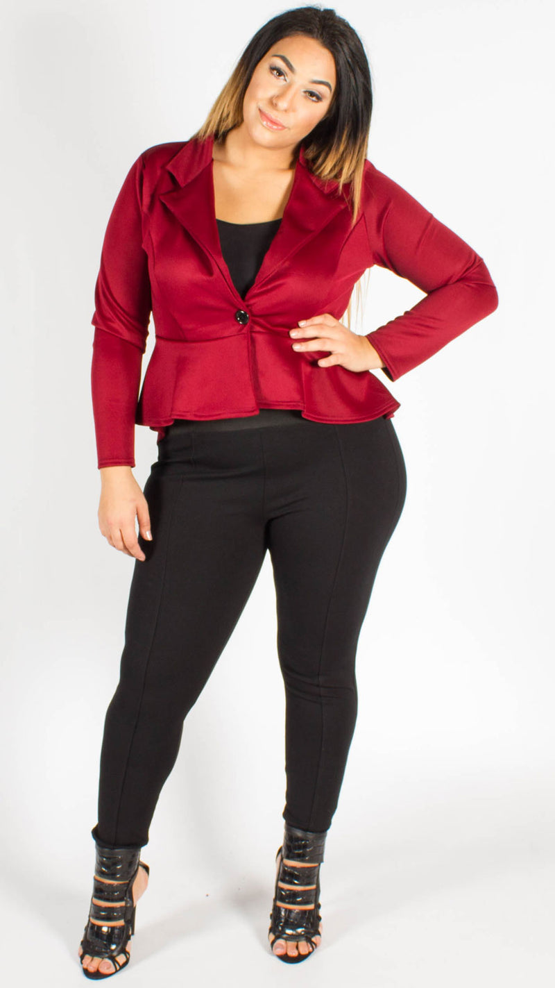 Havana Wine One Button Frill Peplum Blazer