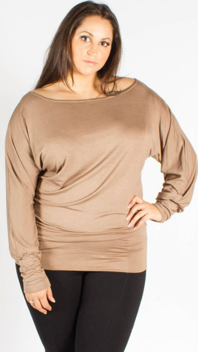 Asia Mocha Off Shoulder Long Sleeve Batwing Top