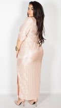 Adele Wrap-Effect Pleated Blush Maxi Dress