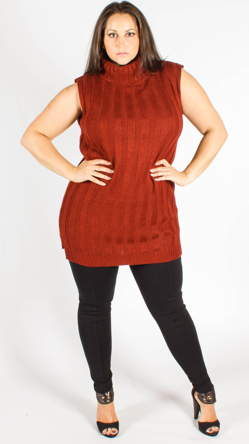 Darby Maroon Sleeveless Knitted Jumper