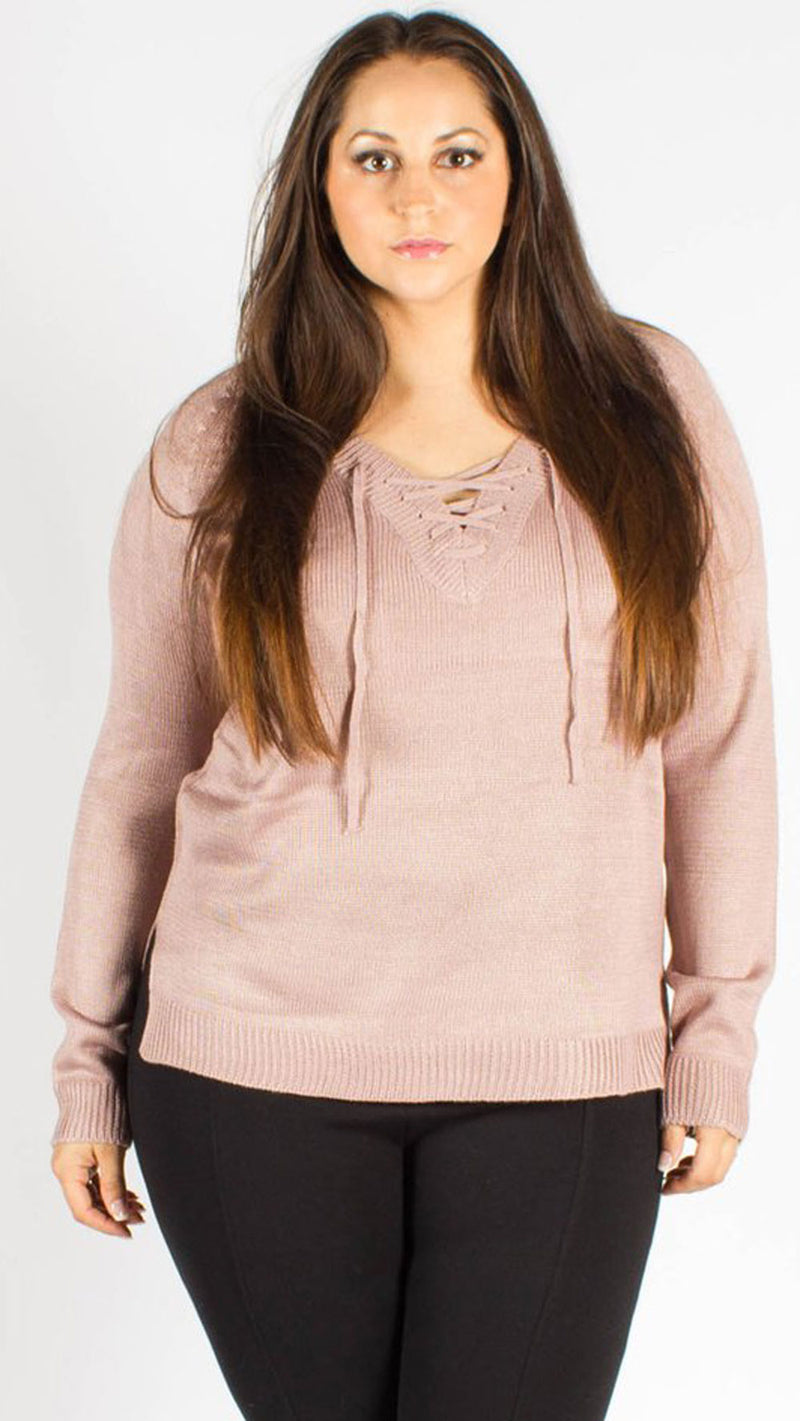 India V-Neck Tie Knitted Jumper Blush