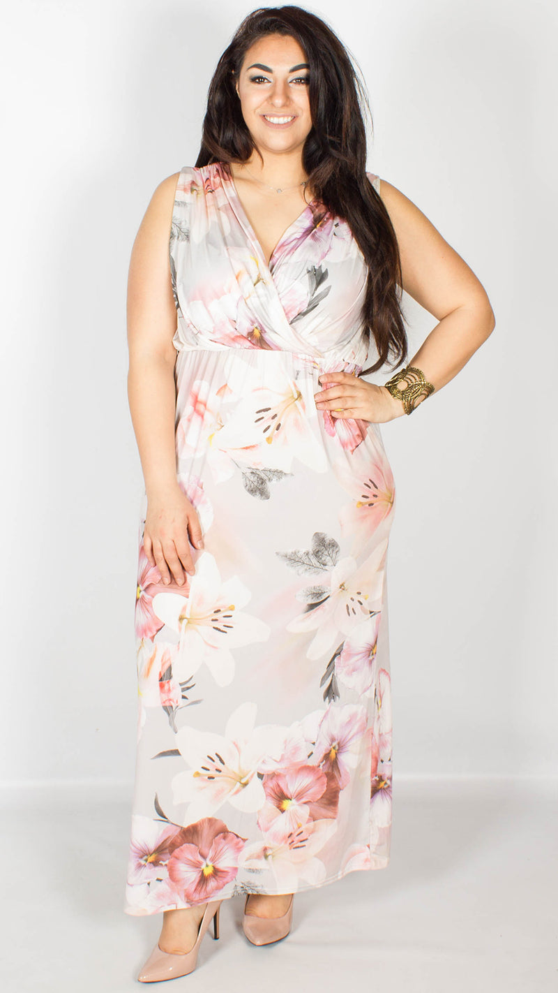 Annette Floral Maxi Dress Pink and Purple
