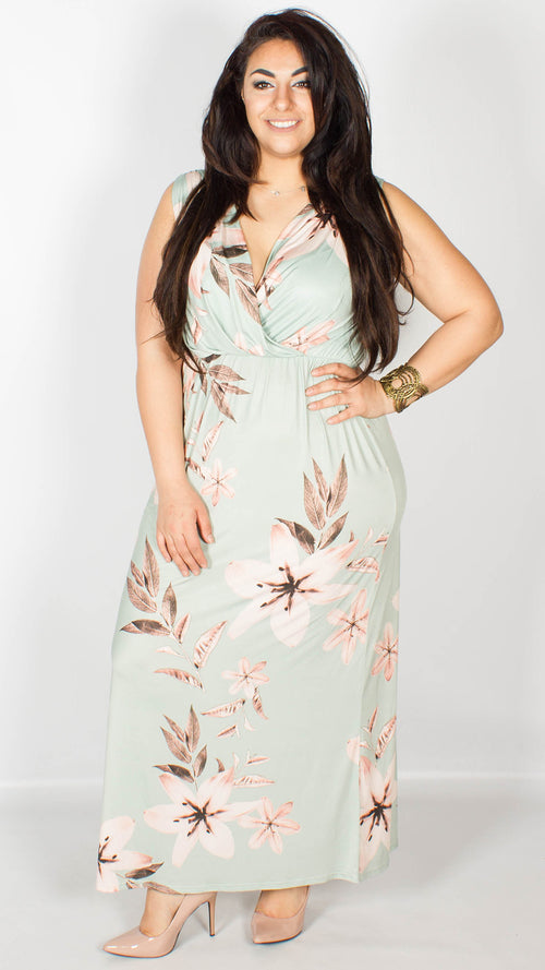 Annette Floral Maxi Dress Green