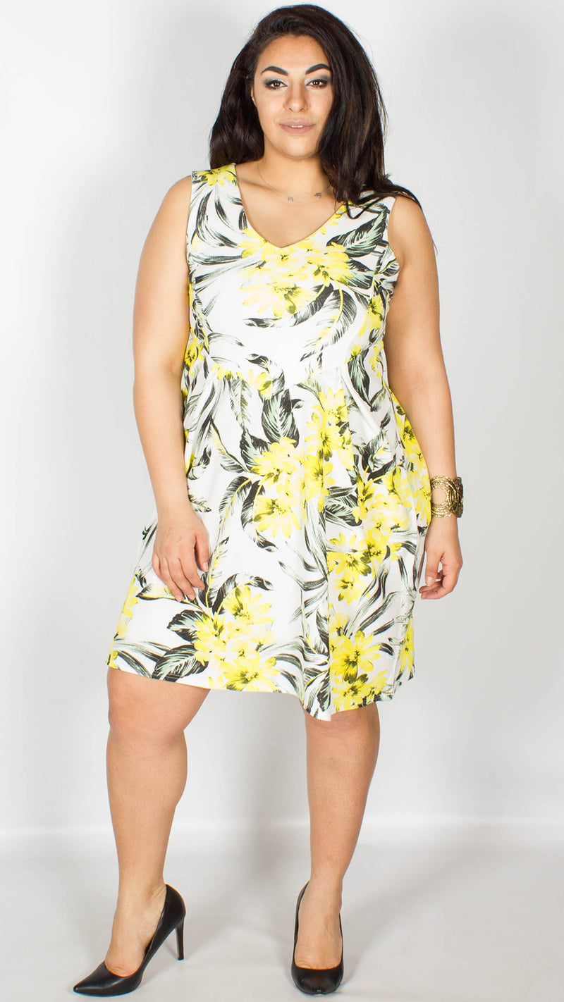 Joanne White Sleeveless Dress with Yellow Floral Print
