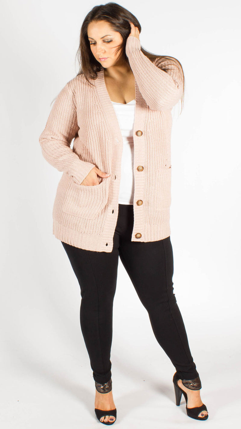 Santiago Blush Button Through Grandad Cardigan