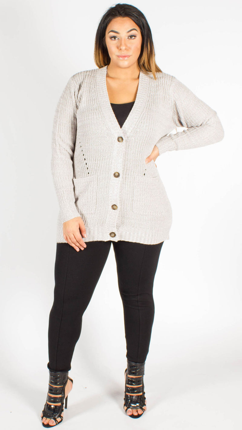 Santiago Grey Button Through Grandad Cardigan