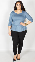 Madeline Light Blue Peplum Top