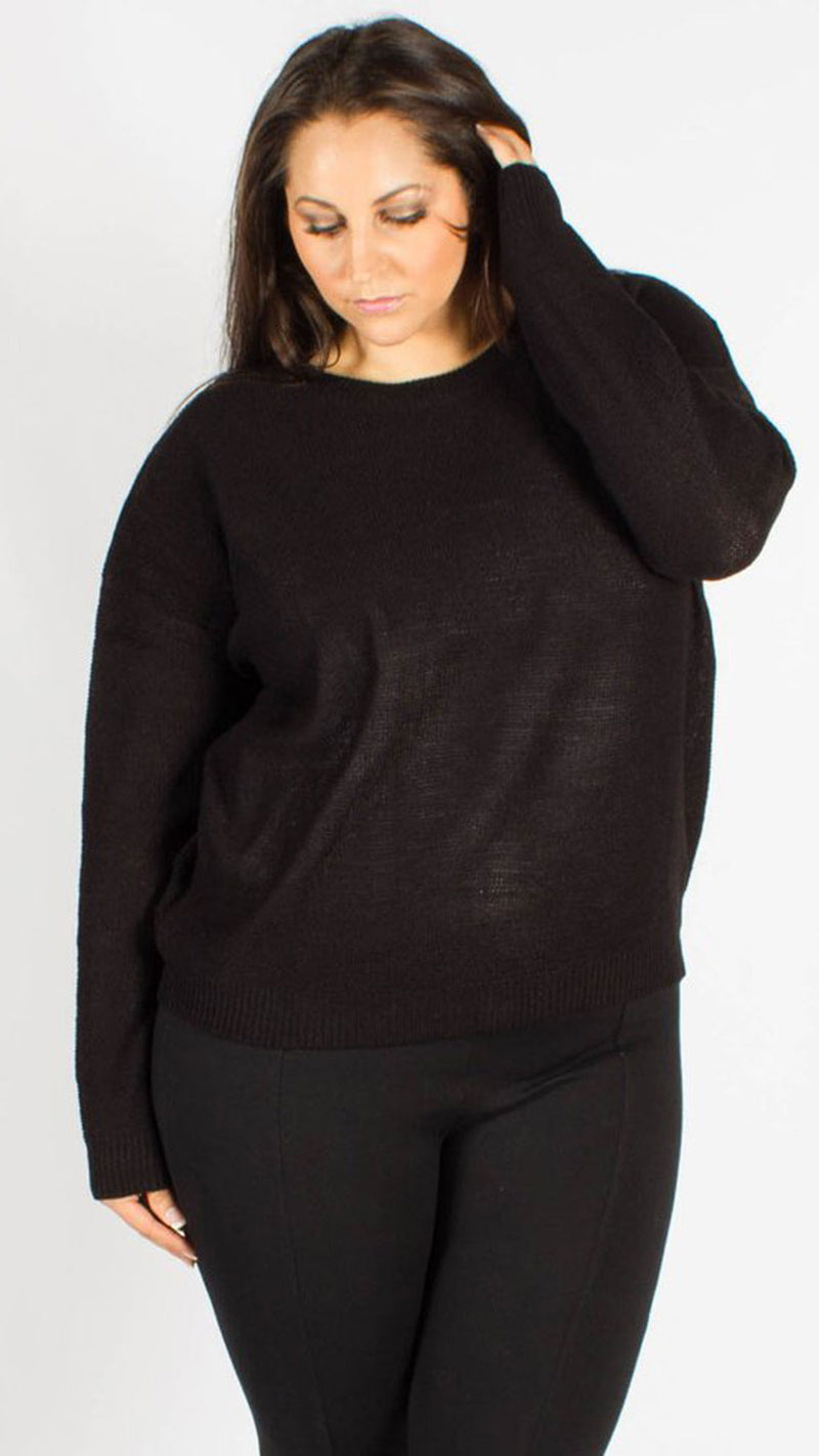 Sedonia Black Long Sleeve Knitted Jumper