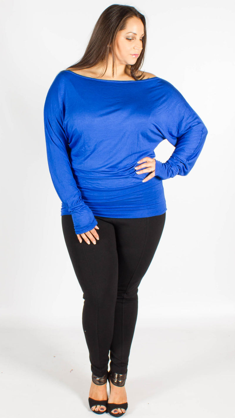 Asia Royal Blue Off Shoulder Long Sleeve Batwing Top