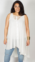 Anne White Lace Sleeveless Dip Hem Blouse