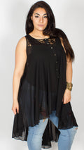 Anne Black Lace Sleeveless Dip Hem Blouse